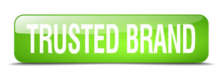 trusted: trusted brand green square 3d realistic isolated web button
