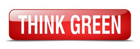 think green: pensar bot�n verde cuadrado rojo 3d realista aislado web