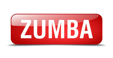 dance shadow: zumba red square 3d realistic isolated web button Illustration