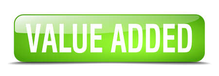 value add: value added green square 3d realistic isolated web button