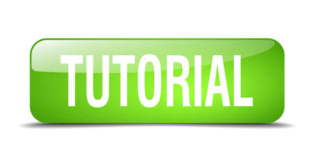 tutorial: tutorial green square 3d realistic isolated web button
