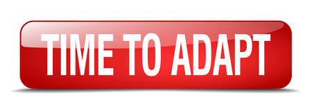 adapt: time to adapt red square 3d realistic isolated web button