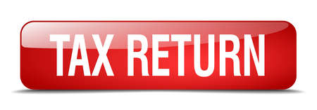 tax return: tax return red square 3d realistic isolated web button Illustration