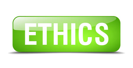 ethics: ethics green square 3d realistic isolated web button Illustration