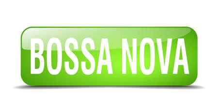 nova: bossa nova green square 3d realistic isolated web button
