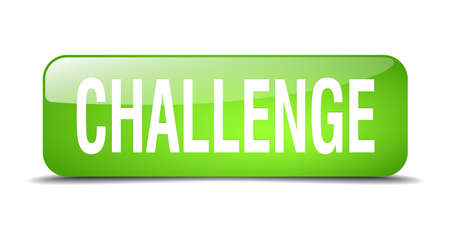 challenge green square 3d realistic isolated web button