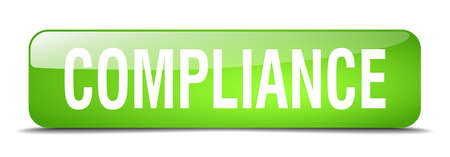 compliance: compliance green square 3d realistic isolated web button
