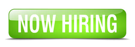 now hiring: now hiring green square 3d realistic isolated web button