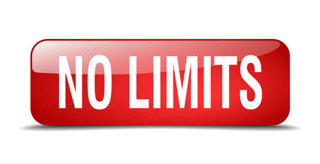 limits: no limits red square 3d realistic isolated web button