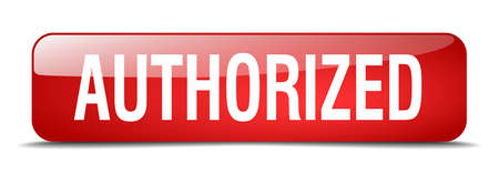authorized: authorized red square 3d realistic isolated web button