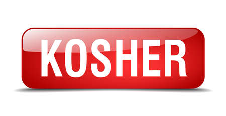 kosher: kosher red square 3d realistic isolated web button