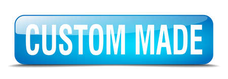 custom made: custom made blue square 3d realistic isolated web button