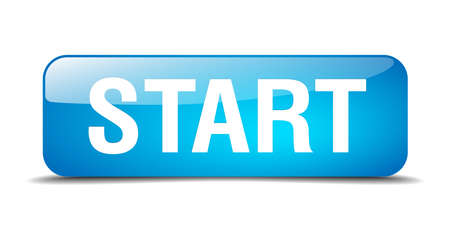 start blue square 3d realistic isolated web button