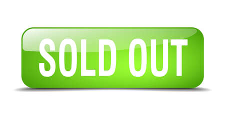 sold isolated: sold out green square 3d realistic isolated web button Illustration