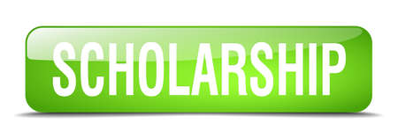 scholarship: scholarship green square 3d realistic isolated web button