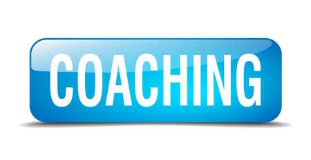 coaching: encadrement carr� bleu 3D r�aliste bouton Web isol� Illustration