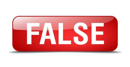 false: false red square 3d realistic isolated web button Illustration
