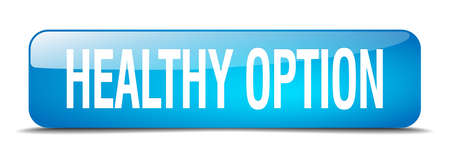 square button: healthy option blue square 3d realistic isolated web button Illustration