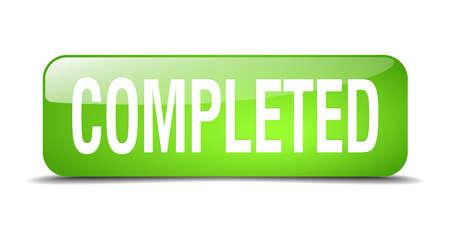 completato: completato 3d tasto verde quadrato realistico web isolato Vettoriali