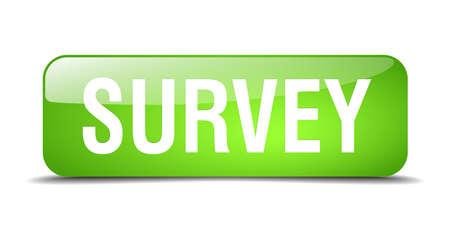 web survey: encuesta web bot�n cuadrado verde 3d realista aislado