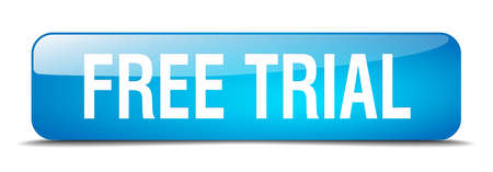 free trial: free trial blue square 3d realistic isolated web button Illustration