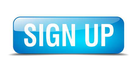 sign up blue square 3d realistic isolated web button