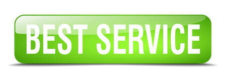 best service: best service green square 3d realistic isolated web button