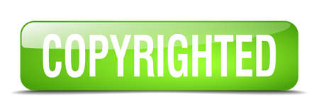 copyrighted: copyrighted green square 3d realistic isolated web button