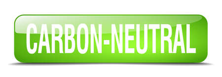 co2 neutral: carbon-neutral green square 3d realistic isolated web button