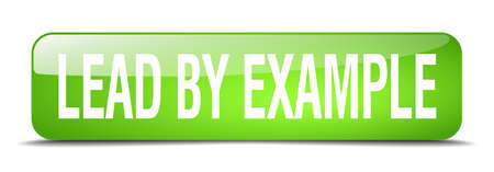 an example: lead by example green square 3d realistic isolated web button