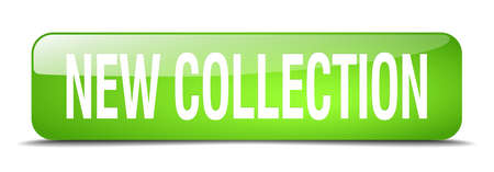 new collection: new collection green square 3d realistic isolated web button Illustration