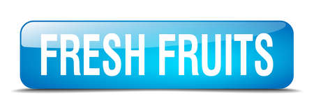 fresh fruits: fresh fruits blue square 3d realistic isolated web button Illustration