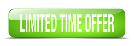 time square: limited time offer green square 3d realistic isolated web button Illustration