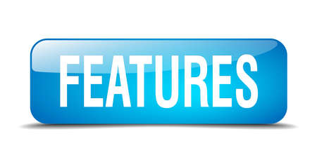 feature: features blue square 3d realistic isolated web button