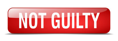 guilty: not guilty red square 3d realistic isolated web button Illustration
