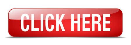 klik hier rood vierkant 3d realistische geïsoleerde web knop Stock Illustratie