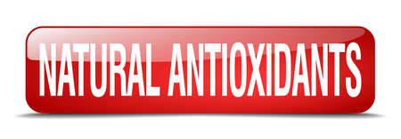 antioxidants: natural antioxidants red square 3d realistic isolated web button