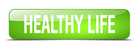 life green: healthy life green square 3d realistic isolated web button