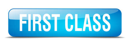 first class: first class blue square 3d realistic isolated web button