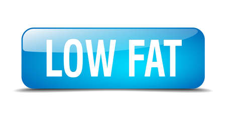 low fat: low fat blue square 3d realistic isolated web button Illustration