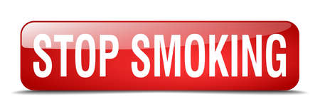 stop smoking: stop smoking red square 3d realistic isolated web button Illustration