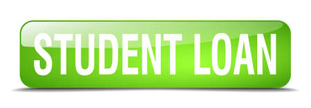 student loan: student loan green square 3d realistic isolated web button Illustration