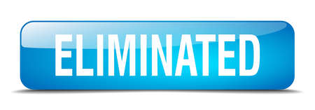 eliminated: eliminated blue square 3d realistic isolated web button Illustration
