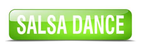 salsa dance: salsa dance green square 3d realistic isolated web button