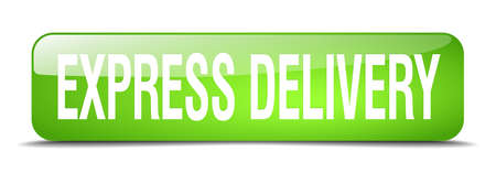 express delivery: express delivery green square 3d realistic isolated web button Illustration
