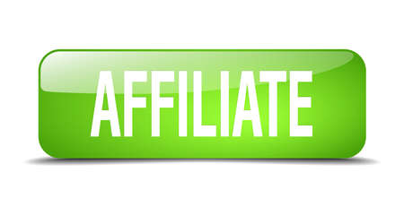 affiliate: affiliate green square 3d realistic isolated web button