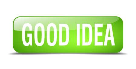 goed idee: goed idee groen 3d realistische geïsoleerde web knop square Stock Illustratie