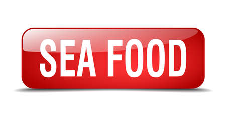 sea food: sea food red square 3d realistic isolated web button