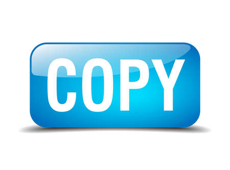 copy blue square 3d realistic isolated web button