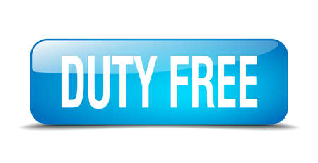 duty: duty free blue square 3d realistic isolated web button